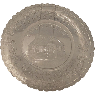 Cup Plate, Historical Glass, Ft.  Meigs, Wm. H. Harrison