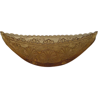 Vintage Amber Glass Canoe, c. early 20th C.