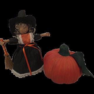 Halloween corn husk doll and pumpkin