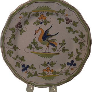Unusual Faience Plate with Mythical Bird