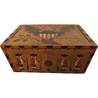 Great Folk Art Box with Revolutionary War Figures