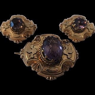 Unusual set of 3 Amethyst Victorian pins