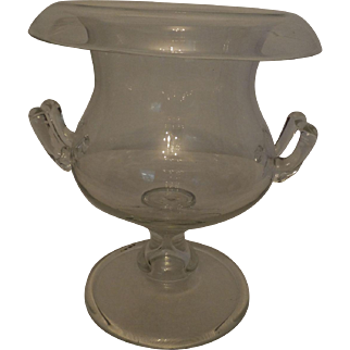 Rolled Top Crystal Vase/Urn with Applied Handles