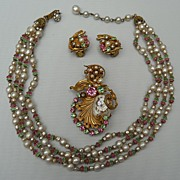 Outstanding Miriam Haskell demi parure (3 pieces), c. 1980's