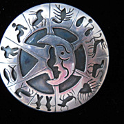 Mexican Sterling Two dimensional Zodiac pin/pendant, c. 1948-79