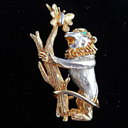 Early Wild and Whimsical Kenneth Jay Lane Monkey pin from the 60's