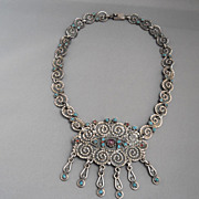 Stunning Mexican Sterling with Gemstones Necklace, c. 80's