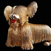 Charming Marcel Boucher Skye Terrier pin, c. 50-60's
