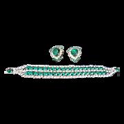 Fabulous Emerald & Rhinestone Bracelet & Earring set, c.  50's