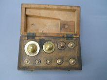 Antique English Miniature box of Nine Weights, circa 19th C.