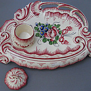French Faience hand painted inkstand. Imperial, early 20th C.
