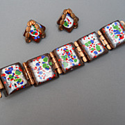 Striking Matisse copper and enamel bracelet and earring set, c. 1950's