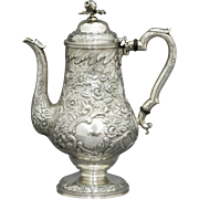 Kirk Coin Silver Repousse Coffee Pot C.1830