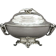 Christofle Paris Silverplate Tureen w/ Lobster Finial & Handles 19th Century
