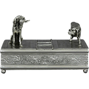Meriden Silver-Plate Figural Dog Humidor