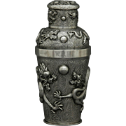 Chinese Export Silver Cocktail Shaker Dragons & Bamboo