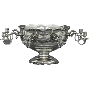 Unusual Rail Road Silver Punch Bowl / Centerpiece Silver-Plate