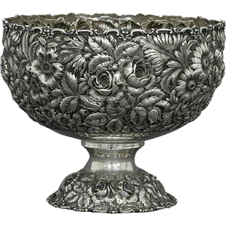 Stieff Hand Chased Floral Repousse Punch Bowl