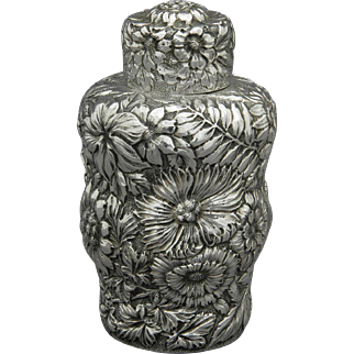 American Sterling Silver Floral Repousse Tea Caddy