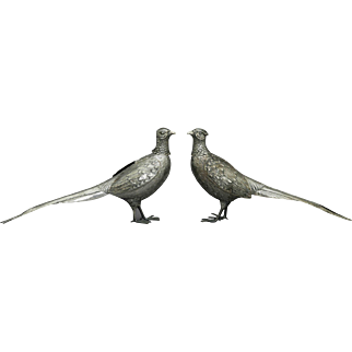 German 800 Silver Pair of Figural Pheasants