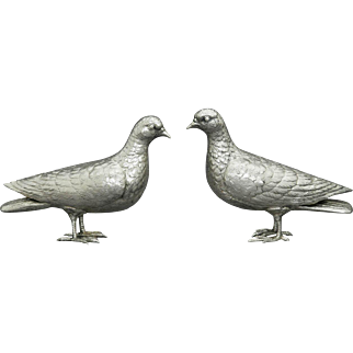 German 800 Silver Pair of figural Doves