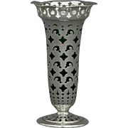 Tiffany & Co Sterling Silver Vase w/ Green Glass Liner