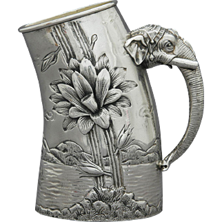 Reed & Barton Aesthetic Silver-Plate Elephant Handle Pitcher