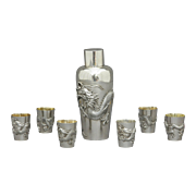 Chiese Export Sterling Silver Cocktail Set by Luen Wo c. 1900