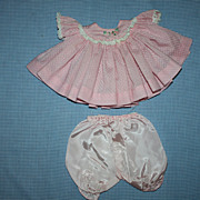 Pink Dotted Swiss Baby Dress for Medium Sized Dolls 1950s