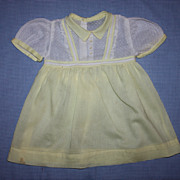 Yellow and White Dimity Dress for Playpal Dolls 1950s