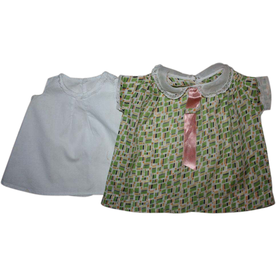 Green Print Batiste Dress for Large Mama Dolls and ...