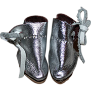 Silver Ankle Boots for Bleuette or Small Dolls - Also fits Effanbee Patsyette