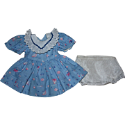 Bunny Print Dress and Underwear for Hard Plastic Dolls such as Ideal Doll 1950s