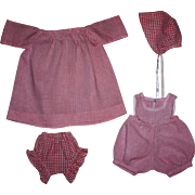 Four Piece Pink Gingham Outfit for Toddlers and Cloth Dolls and Primitives 1940s