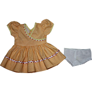 Yellow and White Check Dress for Hard Plastic Doll 1950s
