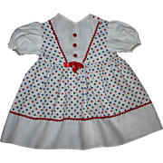 Pique and Cotton Doll Dress for Large Hard Plastic Dolls 1950s