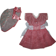 Dotted Swiss Doll Dress and Bonnet for Hard Plastic Dolls 1950s
