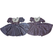 Matching Twin Doll Dresses for Hard Plastic Dolls 1950s