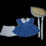 Blue and White Polka Dot Doll Dress, Bonnet, Slip for Composition Dolls 1940s