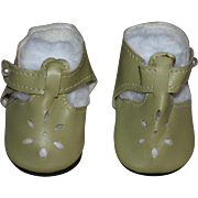 Beige Leather Cut-Out Doll Shoes for Hard Plastic or Composition Dolls