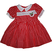 Red and White Taffeta Dress for Large Walkers Unused 1950s