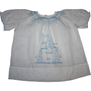 Sweet White Baby Dress with Blue Embroidered Bunnies 1930