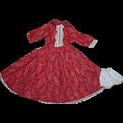 Pretty Embossed Cotton Fashion Doll Dress 1950s