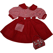Darling Red Dress and Purse for Hard Plastic Dolls 1950s