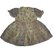 Organdy Dress for Large Composition and Hard Plastic Dolls 1950s