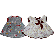 Two Darling Dresses for Composition Toddler Dolls 1930s