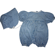 Blue and White Striped Romper and Bonnet for Composition Dolls 1940s