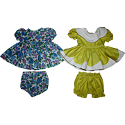 Two Dresses with Matching Unders for Hard Plastic Dolls 1950's