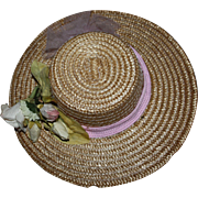 Lovely Straw Hat for Large German or French Bisque Dolls