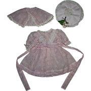 Darling Three Piece Pink Flocked Nylon Party Dress for Hard Plastic Dolls 1950s